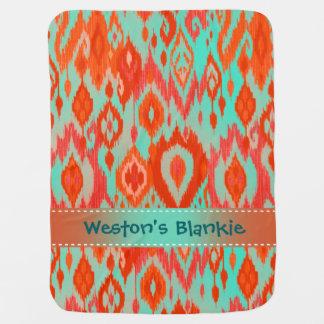 Tapicería anaranjada de Ikat de las azules Mantita Para Bebé
