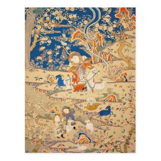 Tapicería china (detalle) con las cabras - año de tarjeta postal