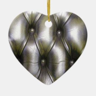 Tapicería de cuero adorno navideño de cerámica en forma de corazón