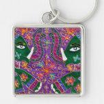 Tapicería de la púrpura del elefante indio llaveros personalizados
