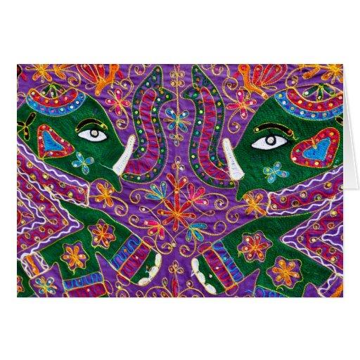 Tapicería de la púrpura del elefante indio felicitación