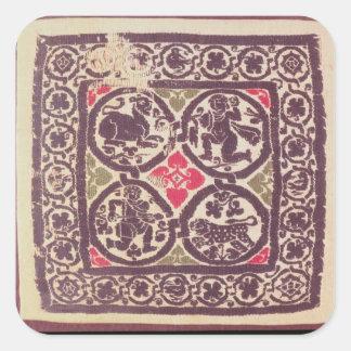Tapicería del este del imperio romano que muestra pegatina cuadrada