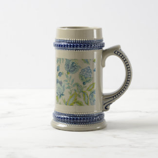 Tapicería floral azul con efecto del brillo jarra de cerveza