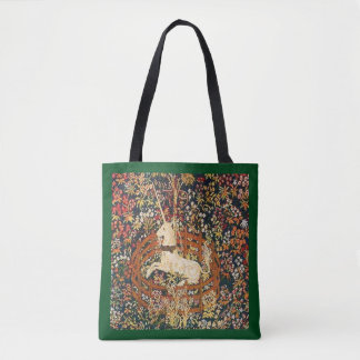 Tapicería medieval del unicornio prisionero bolsa de tela