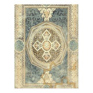 Tapicería ornamental con diseño geométrico postal