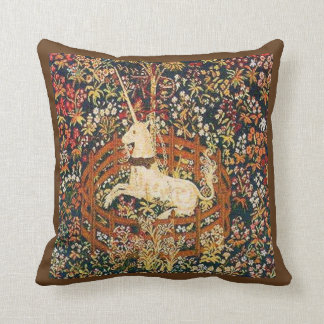 Tapicería prisionera medieval del unicornio cojín