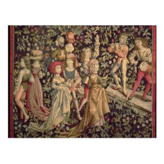 Tapicería que representa bailarines y a músicos tarjetas postales