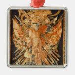 Tapicería que representa los trofeos de la guerra adorno navideño cuadrado de metal