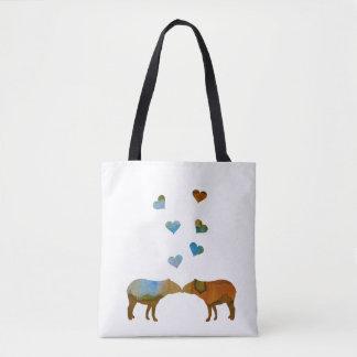 Tapir couple tote bag