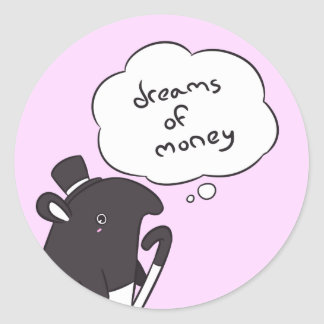 Tapir Dreams of Money - Matte - SolidVer. Classic Round Sticker