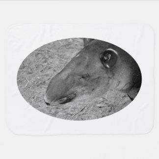tapir head black and white zoo animal stroller blanket
