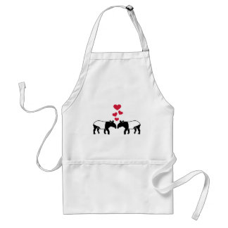 Tapir red hearts love adult apron
