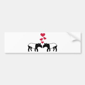 Tapir red hearts love bumper sticker