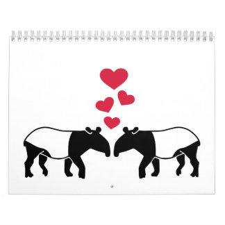 Tapir red hearts love wall calendars