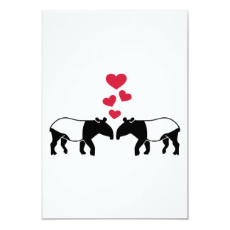 Tapir red hearts love card