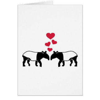 Tapir red hearts love greeting cards