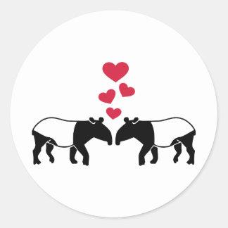 Tapir red hearts love round stickers