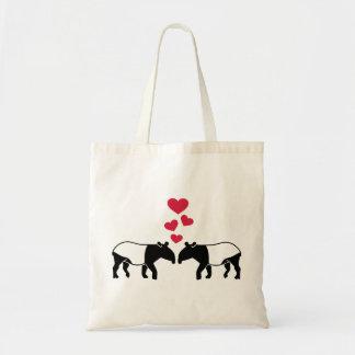 Tapir red hearts love tote bag