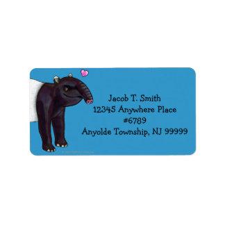 Tapir Wants Hugges Address Label