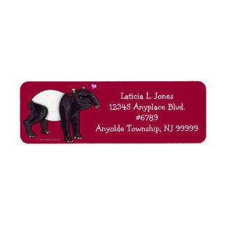 Tapir Wants Hugges Return Address Label