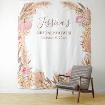 Tapiz Boho Pampas Pink Pumpkin Bridal Shower banne Tapestry