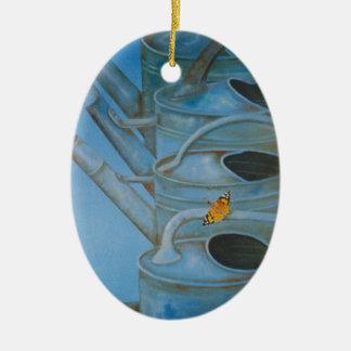 Tapiz de las regaderas para el exterior adorno navideño ovalado de cerámica
