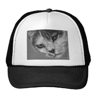 Tara - arte blanco y negro del gato gorro