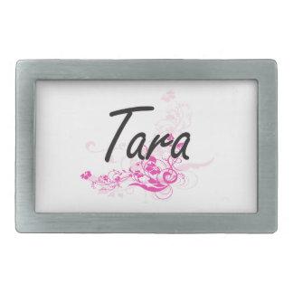 Tara Artistic Name Design with Flowers Belt Buckles