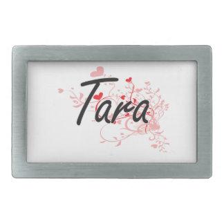 Tara Artistic Name Design with Hearts Belt Buckle