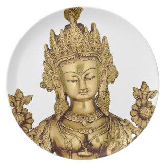 Tara Buddha Buddhist Goddess Yoga Tibet Art Peace Dinner Plate