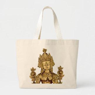Tara Buddha Buddhist Goddess Yoga Tibet Art Peace Large Tote Bag