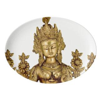 Tara Buddha Buddhist Goddess Yoga Tibet Art Peace Porcelain Serving Platter