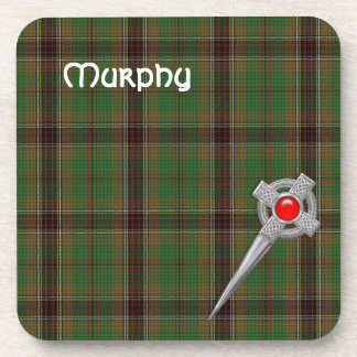 Tara Murphy Tartan Plaid and Celtic Knot Kilt Pin Drink Coaster