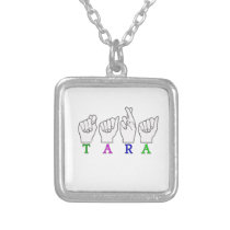 TARA NAME FINGERSPELLED ASL SIGN SILVER PLATED NECKLACE