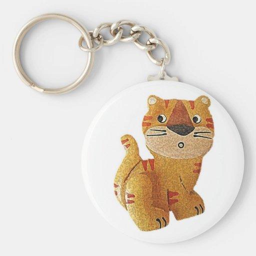 Tara Tiger Basic Round Button Keychain