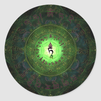 Tara verde - protección contra peligros y el pegatina redonda