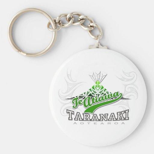 Taranaki Maunga white Basic Round Button Keychain