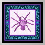 Tarantula - Elegant Teal & Fuschia Damask Border Print