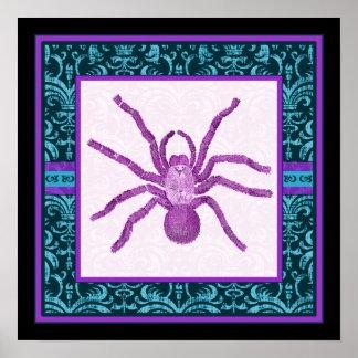 Tarantula - Elegant Teal & Fuschia Damask Border Poster