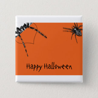Tarantula Spider crawling on Halloween Orange Button