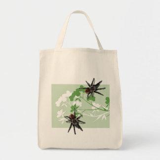 tarantula spider on dogwood blossom design bag