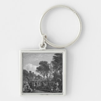 Tarbolton, Procession of St.James' Lodge, 1846 Silver-Colored Square Keychain