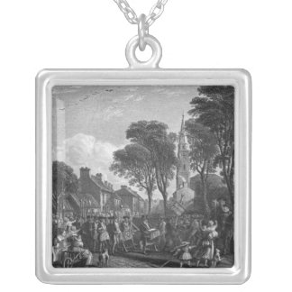 Tarbolton, Procession of St.James' Lodge, 1846 Square Pendant Necklace