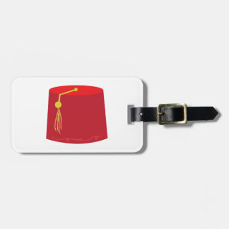 Tarboosh rojo etiqueta de equipaje