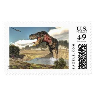 Tarbosaurus dinosaur - 3D render Postage