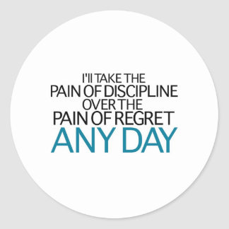 Tardaré a dolor de la disciplina cualquier día pegatina redonda