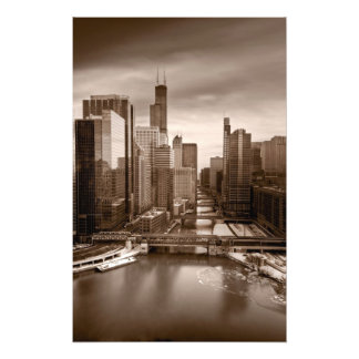 Tarde BW de la opinión de la ciudad de Chicago Fotografías