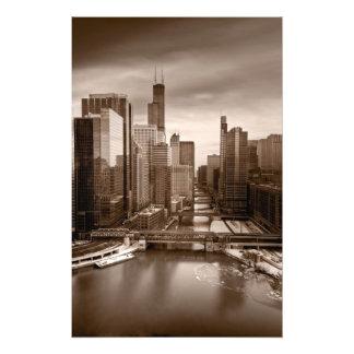 Tarde BW de la opinión de la ciudad de Chicago Fotografias