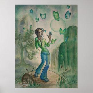 Tarde con las mariposas póster