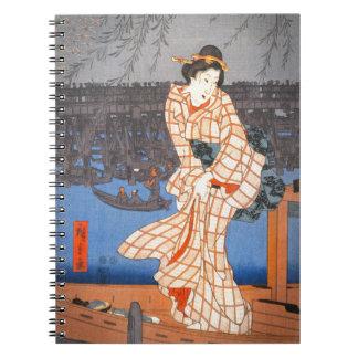 Tarde de Hiroshige en el arte del japonés del río Libro De Apuntes